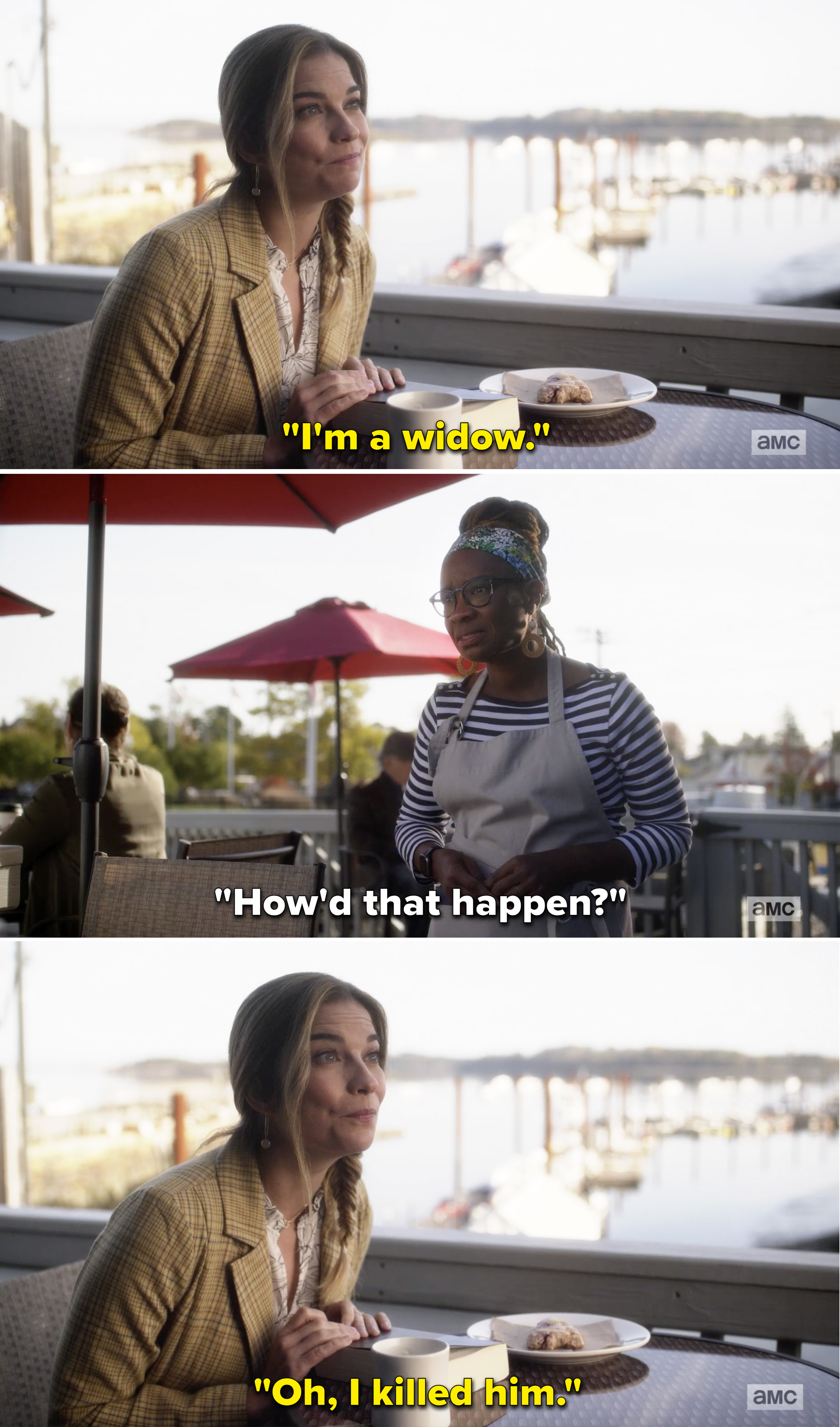 """A waitress asks Allison how she became a widow to which Allison replies, """"Oh I killed him"""""""