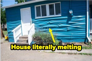 """siding of a house creasing labeled """"House literally melting"""""""