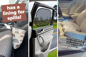A split thumbnail of a trash can a car door and a seat cushion