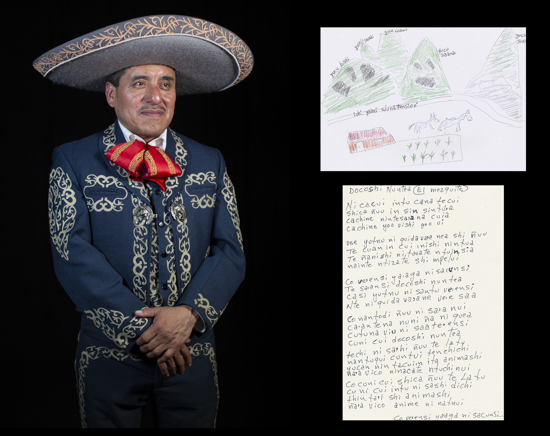An Indigenous Mexican man in costume, with a piece of paper written in his language next to him