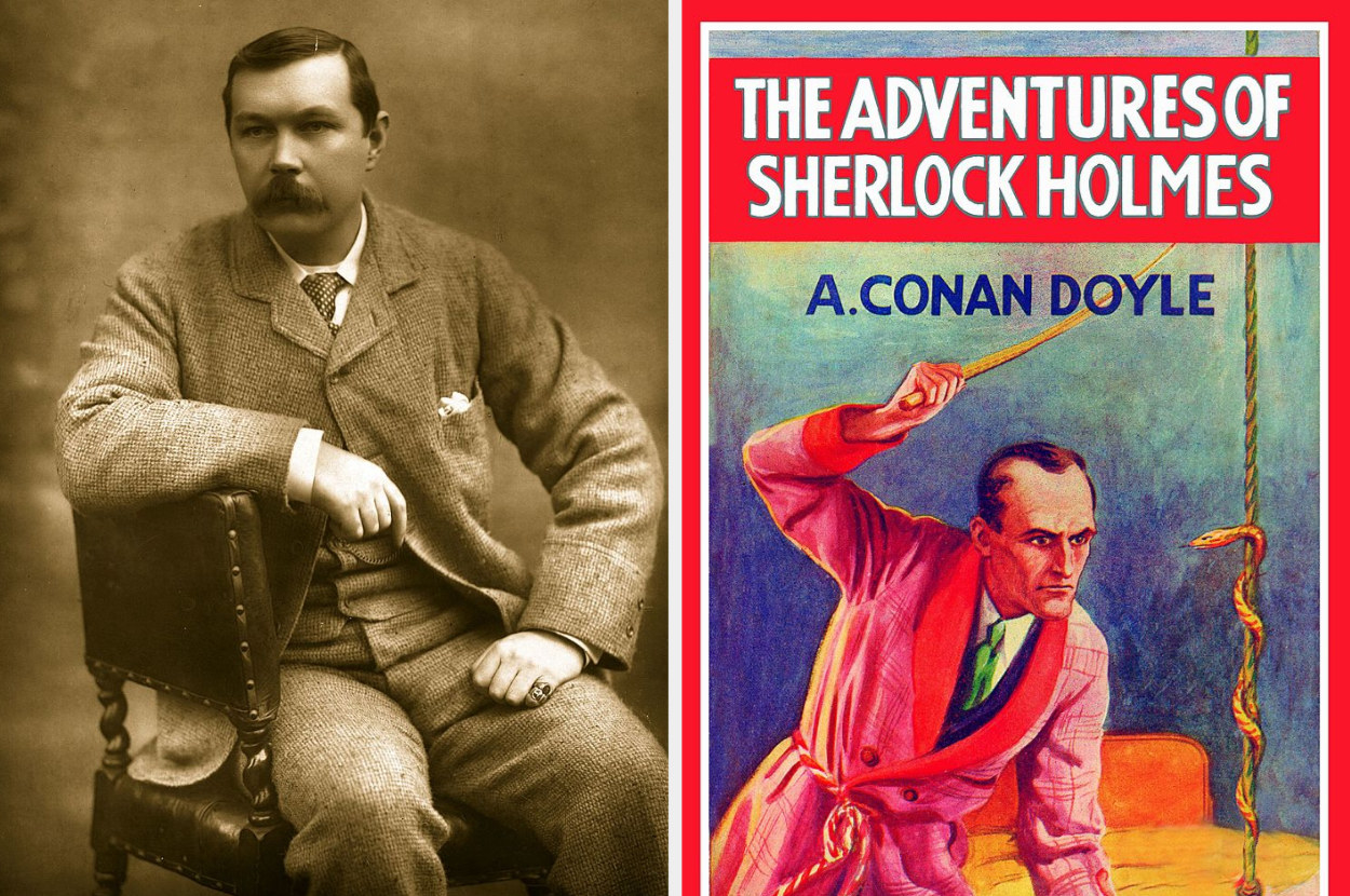 Arthur Conan Doyle and the cover of an edition of The Adventures of Sherlock Holmes