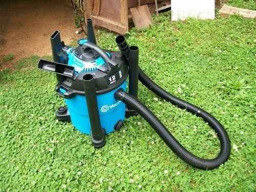 reviewer photo of the shop vac on the grass in backyard