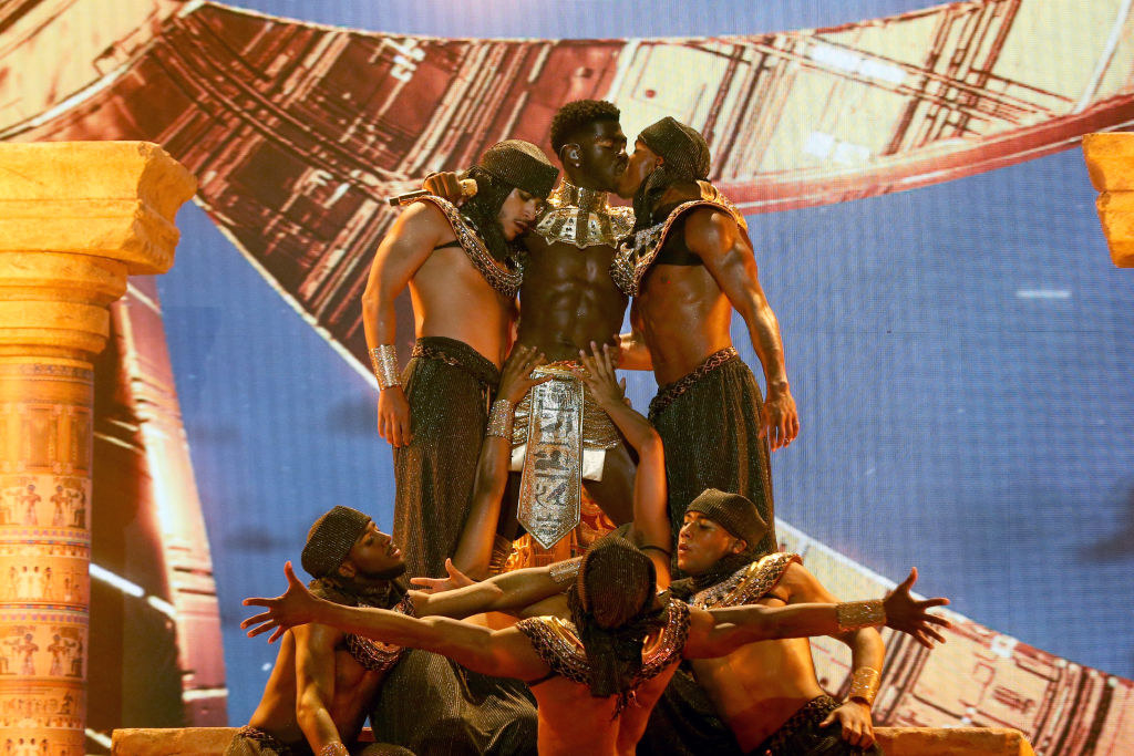 Lil Nas X performs onstage at the BET Awards 2021