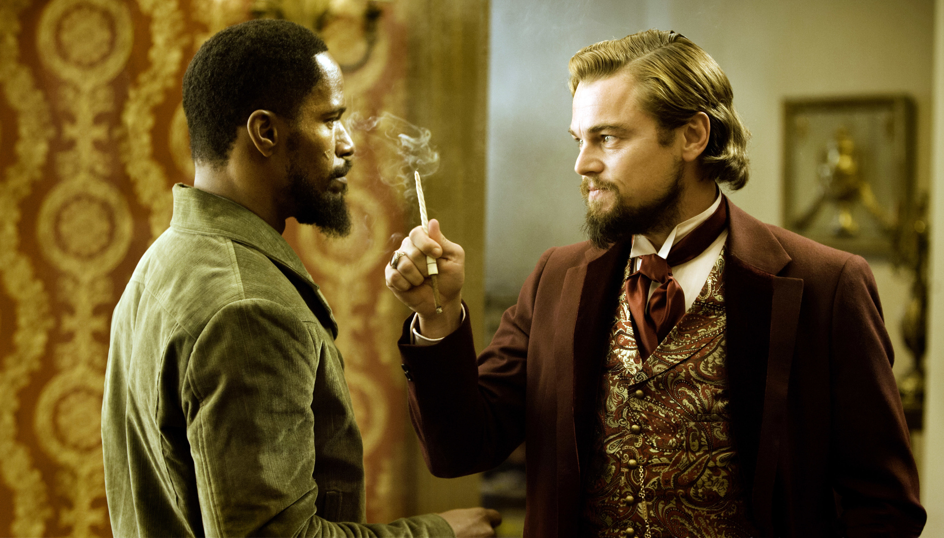 Jamie Foxx and Leonardo DiCaprio face off while in character