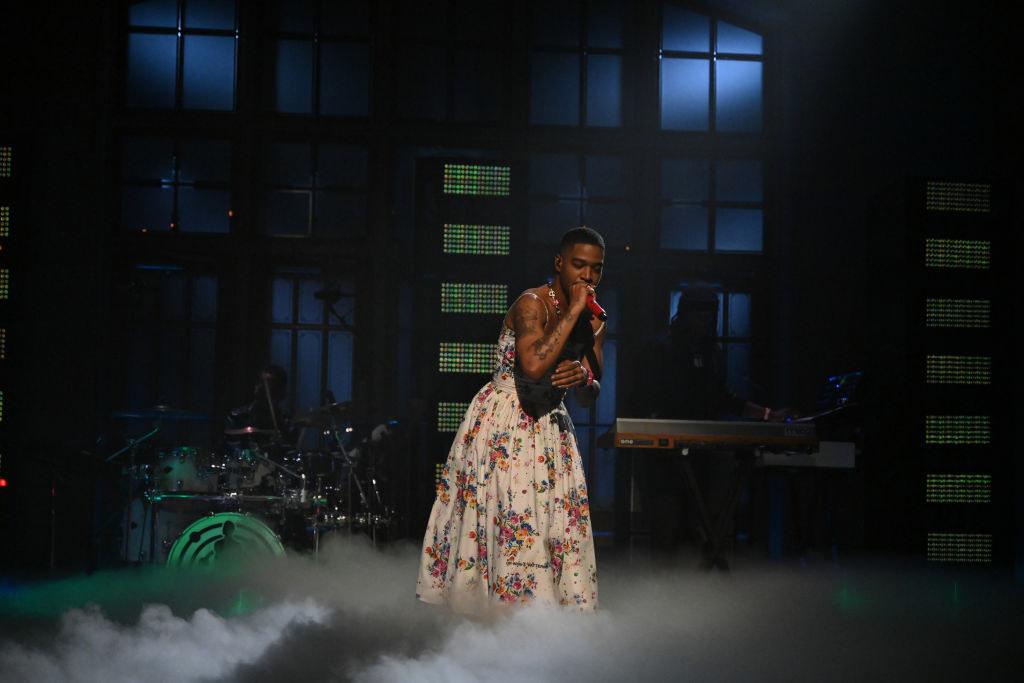 Kid Cudi performing on-stage during Saturday Night Live