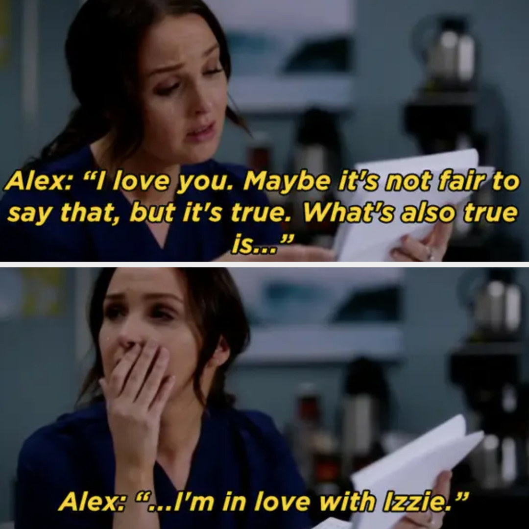 Alex writes Jo a farewell letter saying he's in love with Izzie
