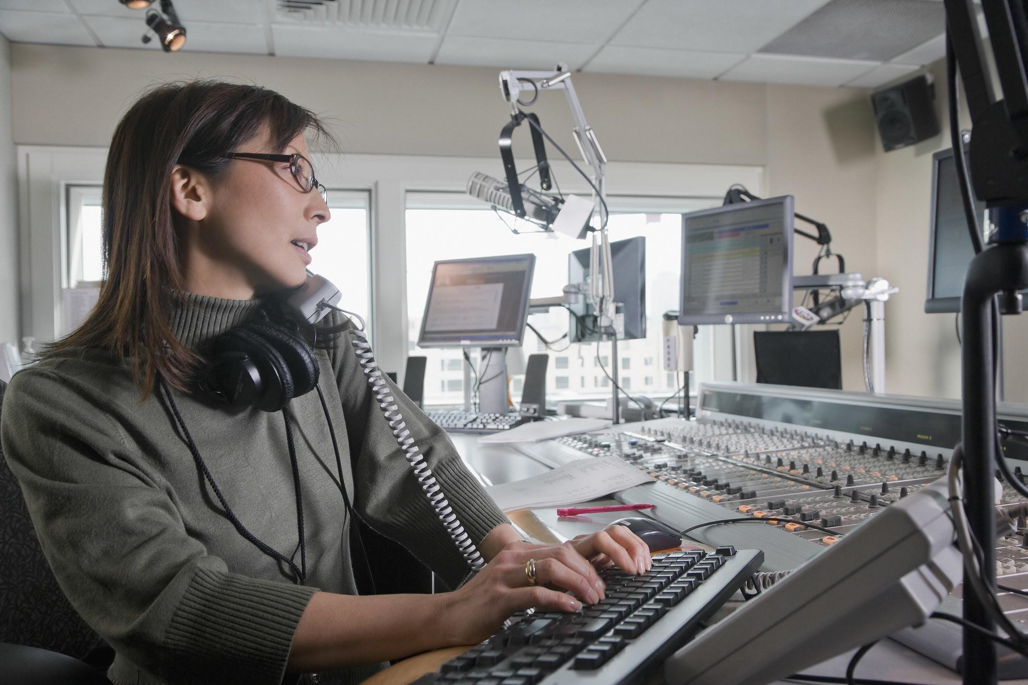 Woman in a radio studio