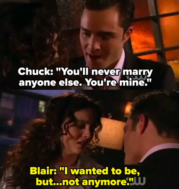 Chuck tells Blair she can never marry anyone else and that she belongs to him