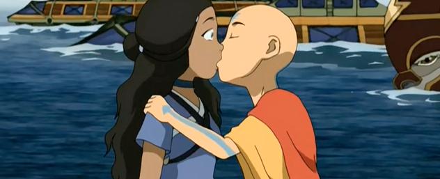 Aang kisses Katara, she widens her eyes in shock