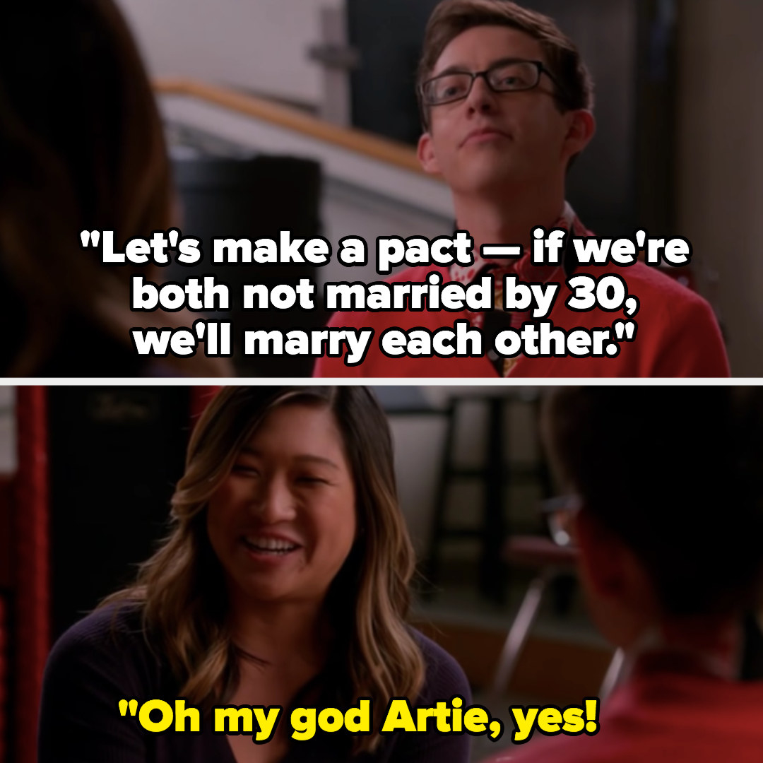 Artie and Tina make a pact to get married if they're both single by 30