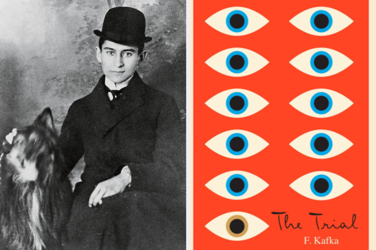 Kafka with his dog and next to a modern cover of the Trial