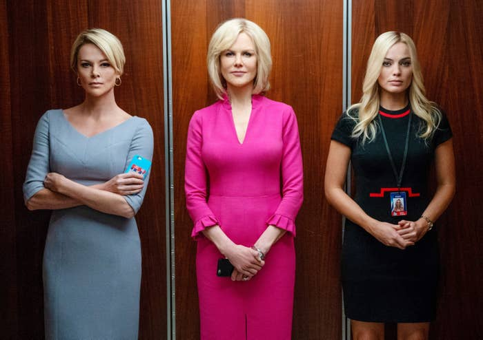 Charlize Theron, Nicole Kidman, and Margot Robbie in the elevator