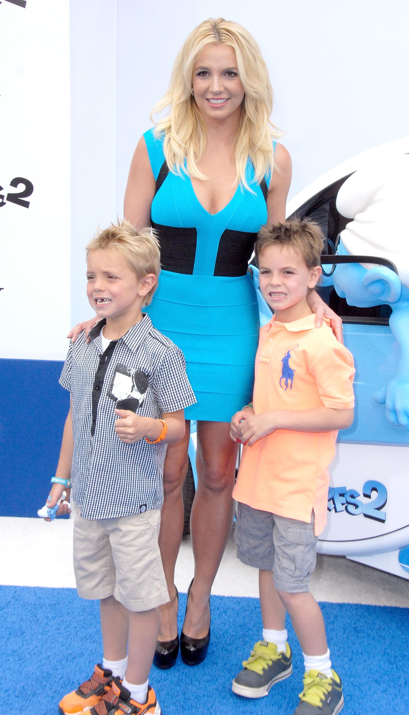 Singer Britney Spears and her sons Sean Preston Federline and Jayden James Federline arrive at the Los Angeles Premiere 'Smurfs 2' on July 28, 2013 at Regency Village Theatre in Westwood, California