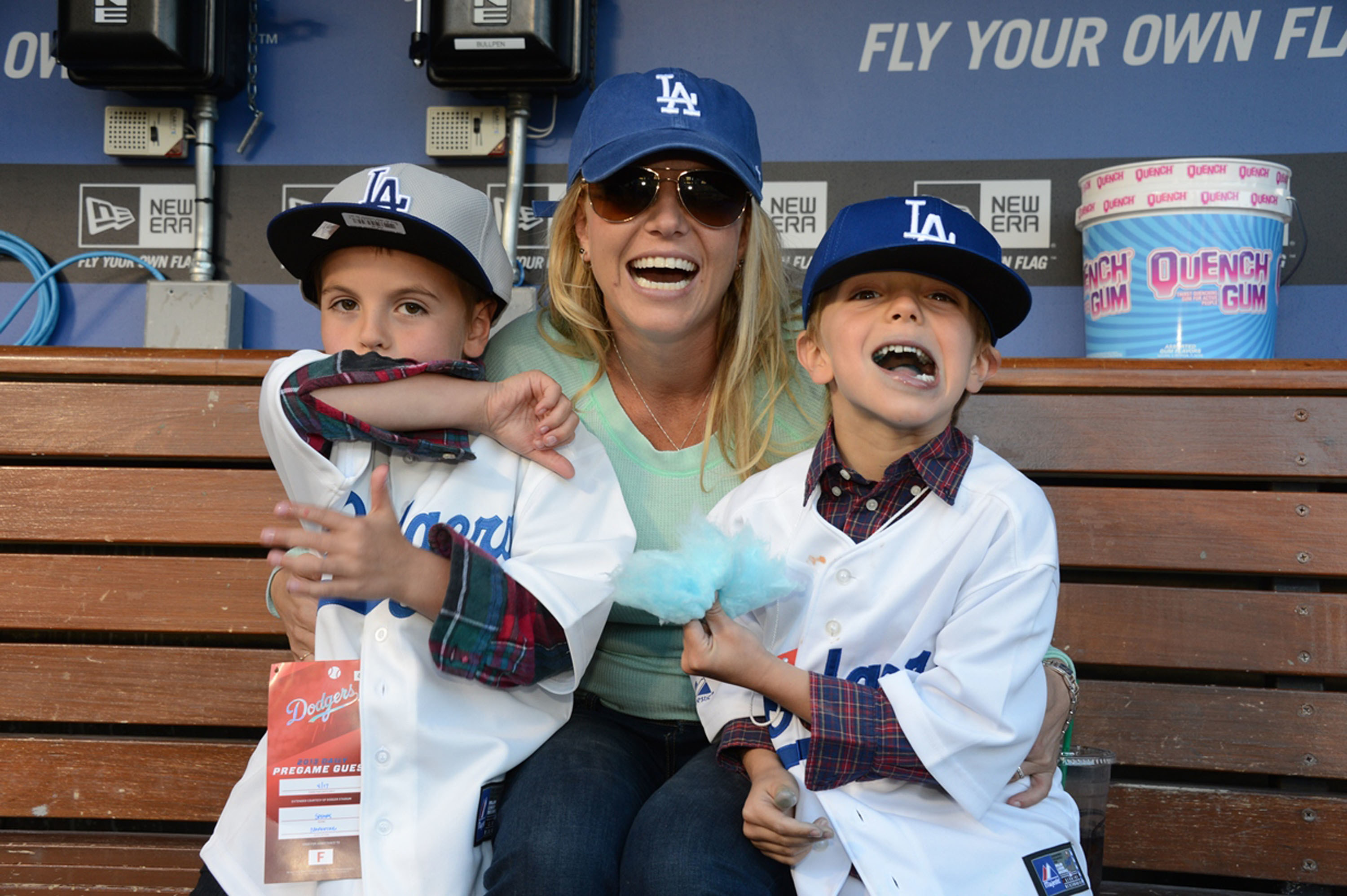 In this handout photo provided by the LA Dodgers, Britney Spears poses with sons Sean Preston Federline and Jayden James Federline during a game against the San Diego Padres at Dodger Stadium on April 17, 2013 in Los Angeles, California