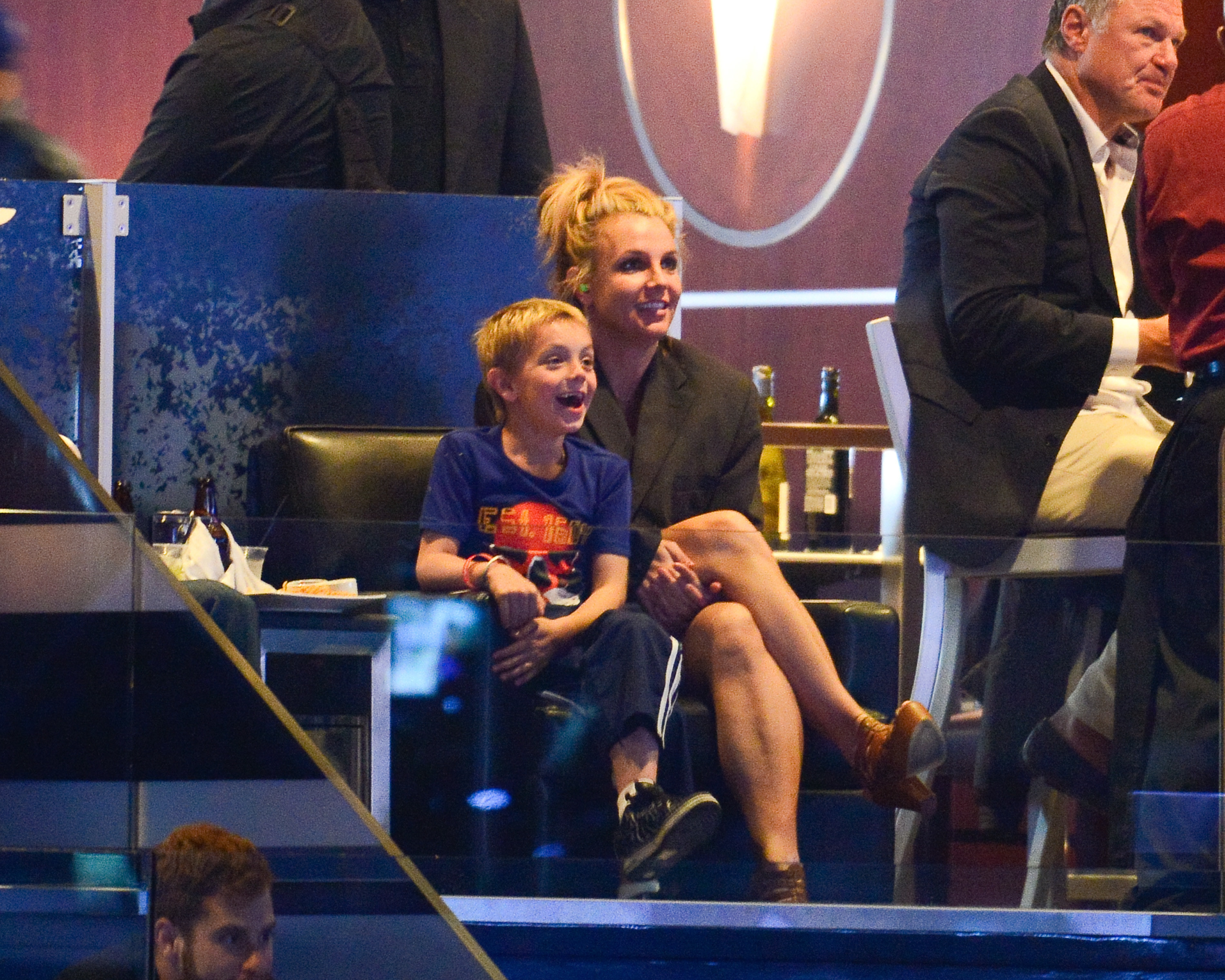 Britney Spears and her son Jayden James Federline attend a hockey game between the New York Rangers and the Los Angeles Kings in Game Two of the 2014 NHL Stanley Cup Final at the Staples Center on June 7, 2014 in Los Angeles, California