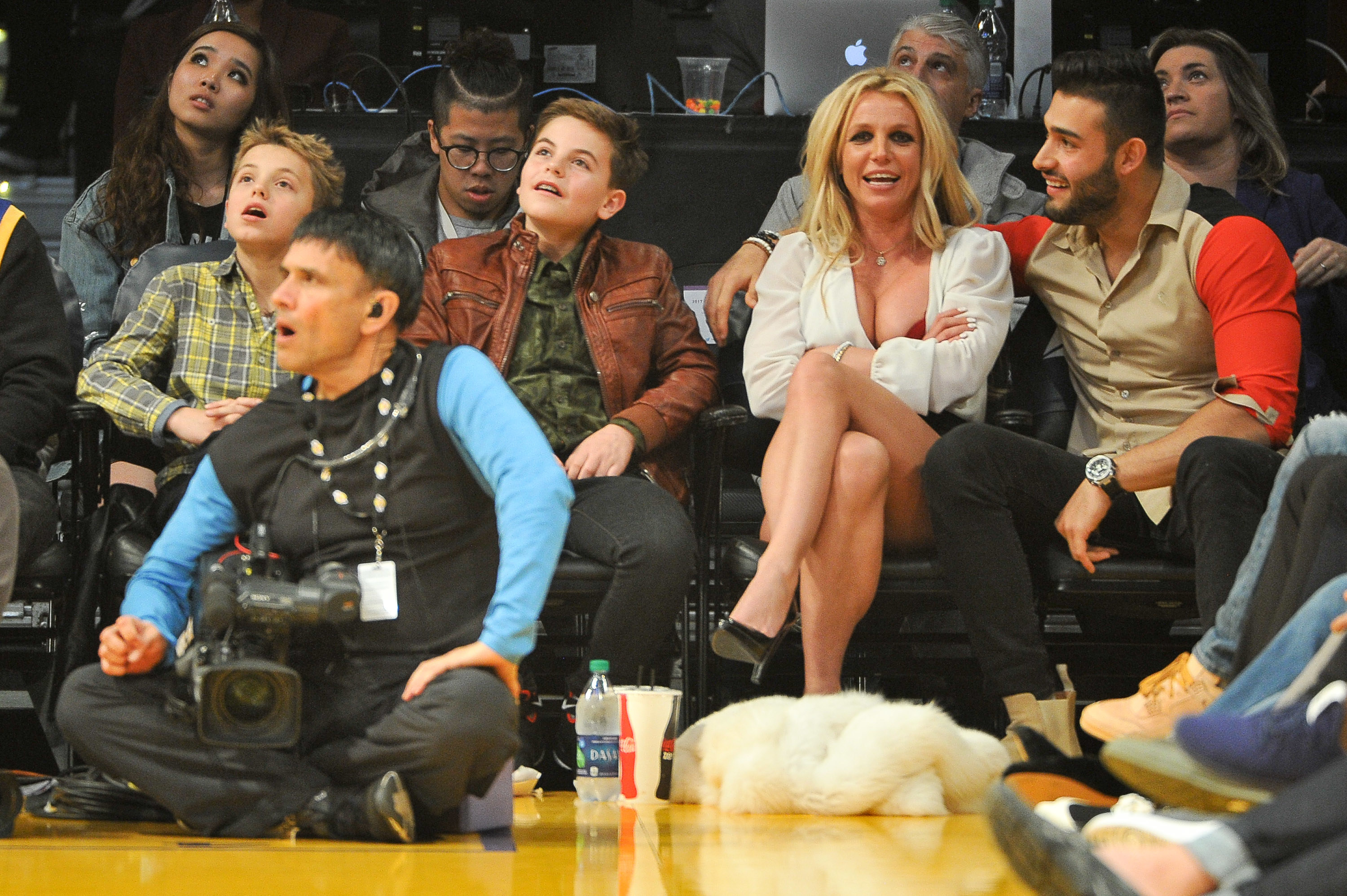 Sean Federline, Jayden James Federline, Britney Spears and Sam Asghari attend a basketball game between the Los Angeles Lakers and the Golden State Warriors at Staples Center on November 29, 2017 in Los Angeles, California