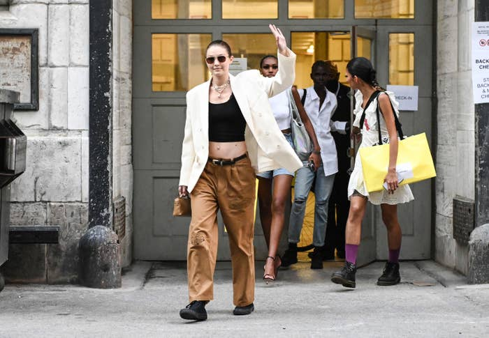 Gigi Hadid is pictured outside of the June 2021 Marc Jacobs show in New York City