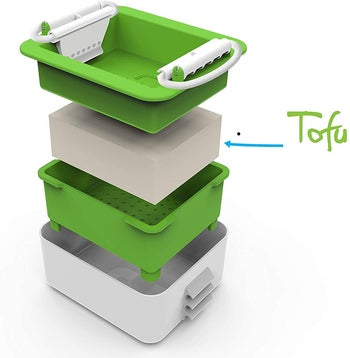 each part of the tofu press separated in a stack to show off each part