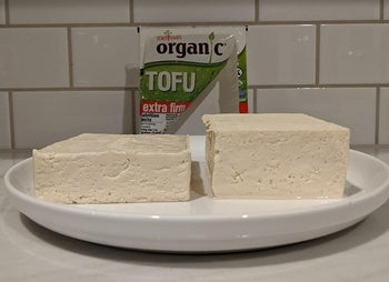 a reviewer photo of a block of pressed and unpressed and pressed tofu