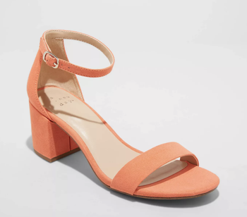 orange block heels with a thin ankle strap