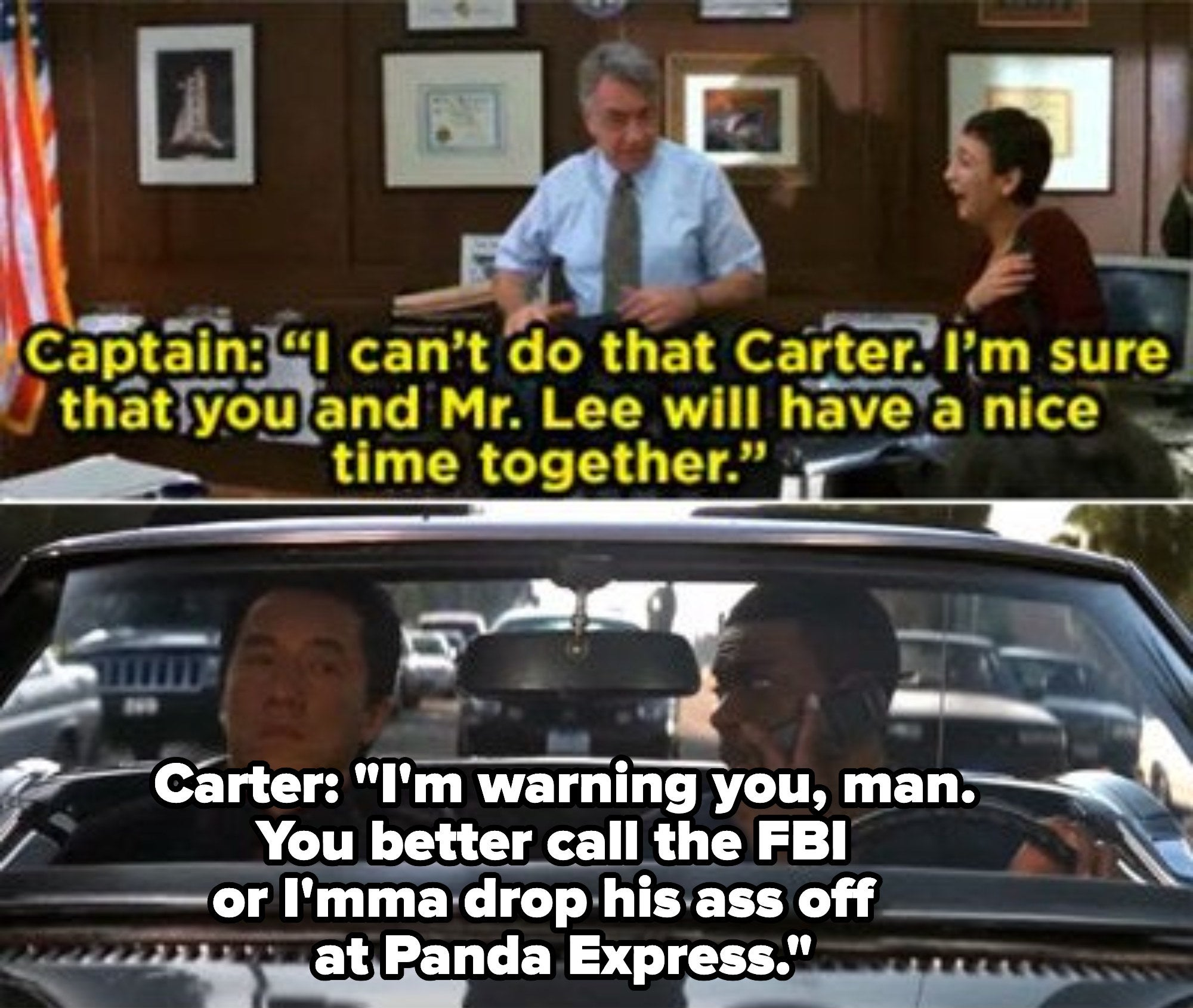 Carter telling his boss that he is going to drop Lee off at Panda Express