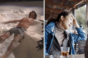 A man laying in the snow shirtless and a woman holding her hand to her face disappointed