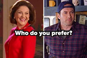 Emily Gilmore smiles brightly as she wears a red jacket and Luke Danes smiles softly while wearing a red and blue checkered flannel shirt and blue baseball cap.
