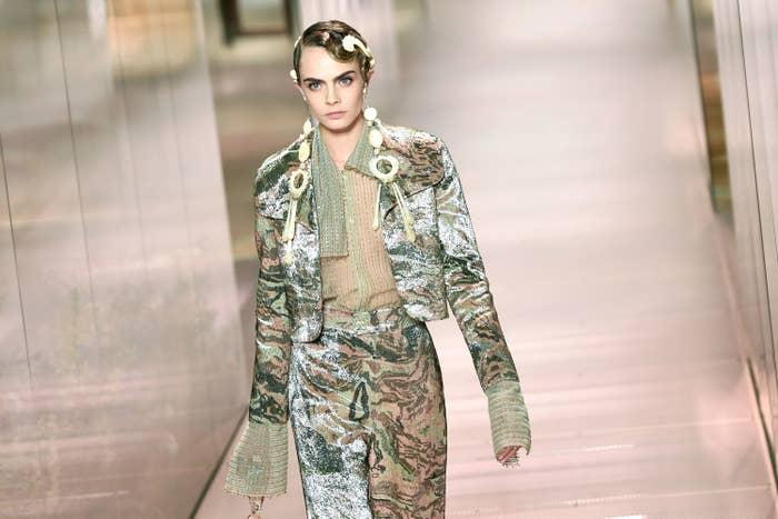 Cara Delevingne walks in a Fendi fashion show