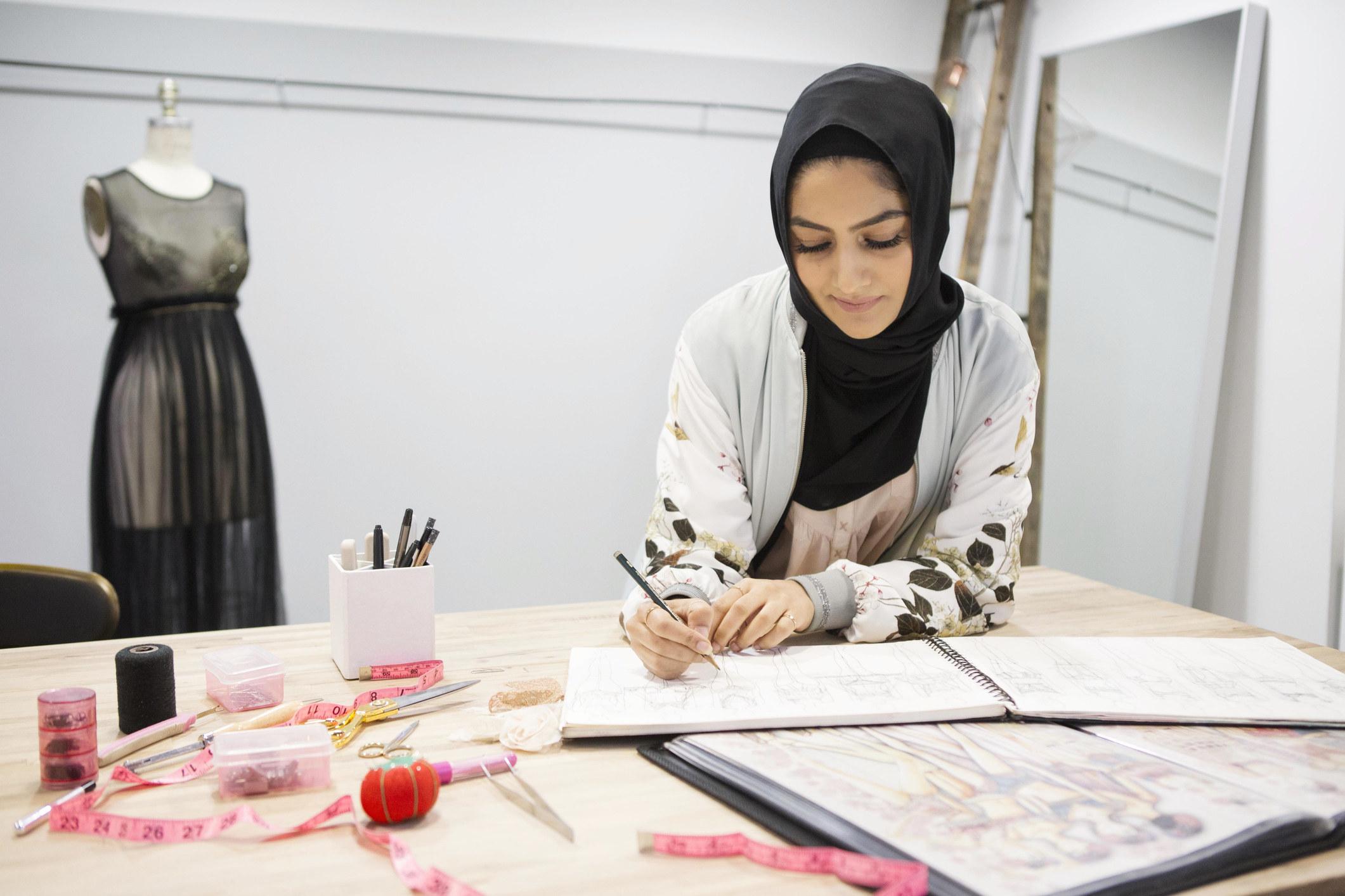 Woman designing fashion