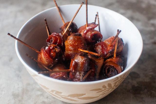 Cider-Glazed Bacon-Wrapped Dates