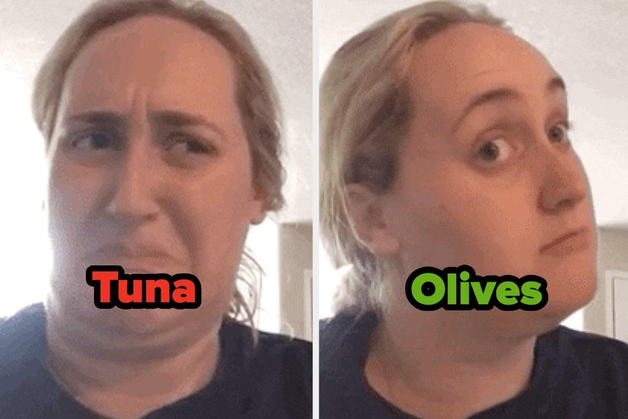 """Tuna"" over cringing kombucha girl, and ""olives"" over interested kombucha girl"