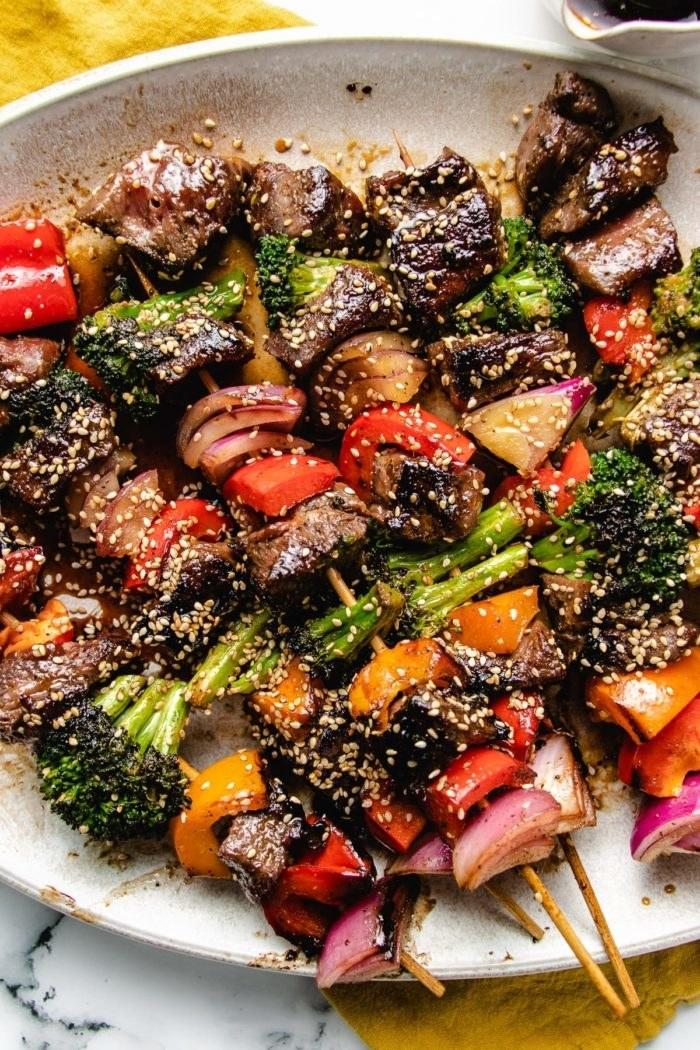 Marinated Beef Kabobs with Broccoli