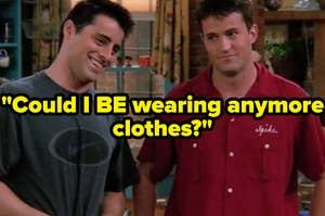 Joey Tribianni and Chandler Bing stand next to each other in Monica Geller's kitchen smiling.