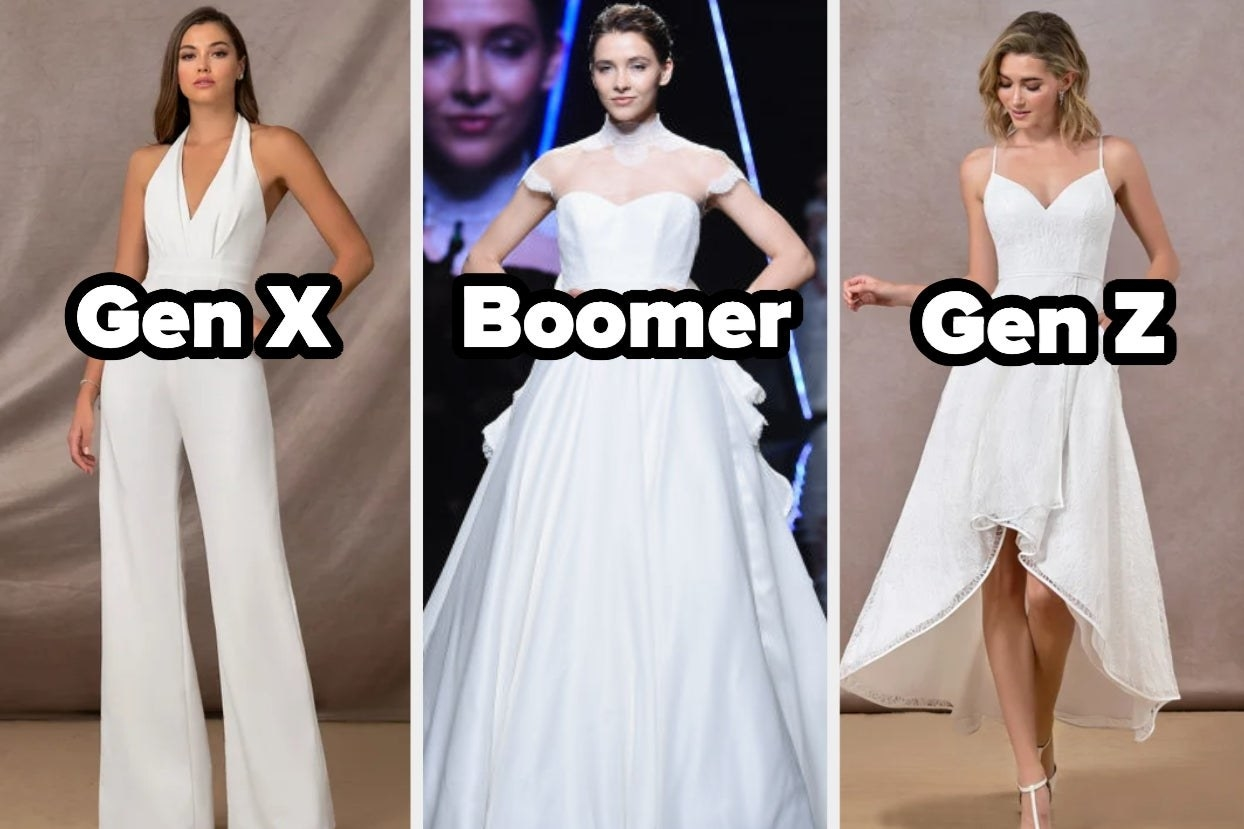 """Three wedding outfits with the words """"Gen X, Boomer, and Gen Z"""""""