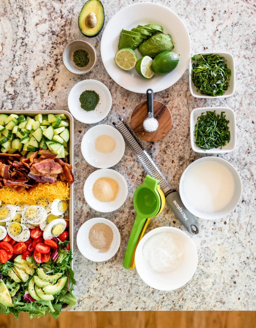 BLT Sheet Pan Salad with Avocado Lime Ranch Dressing