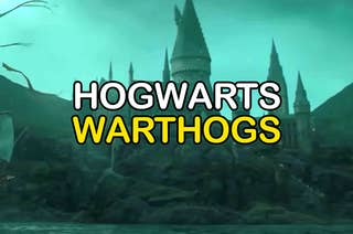 An image of Hogwarts school with the words Hogwarts and warthogs over top