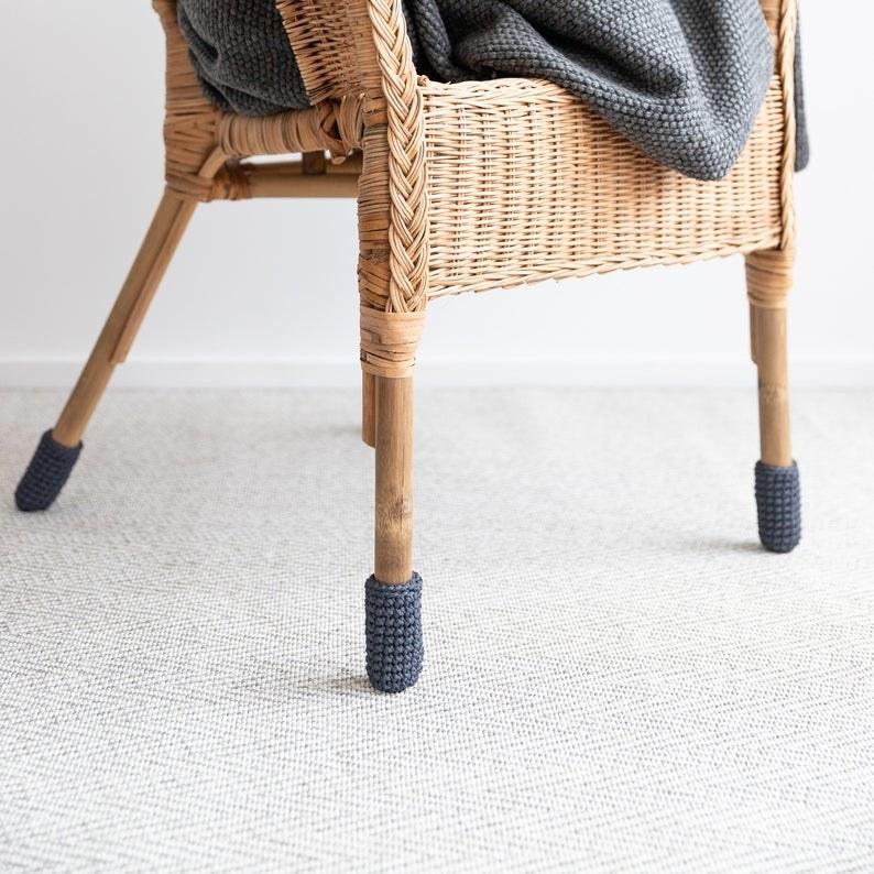A chair wearing socks