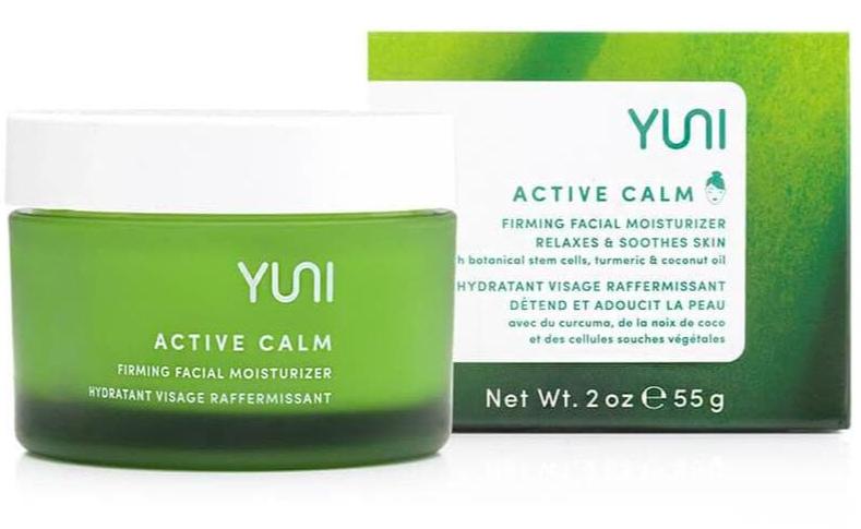 The jar and box of YUNI Active Calm Firming Facial Skin Moisturizer