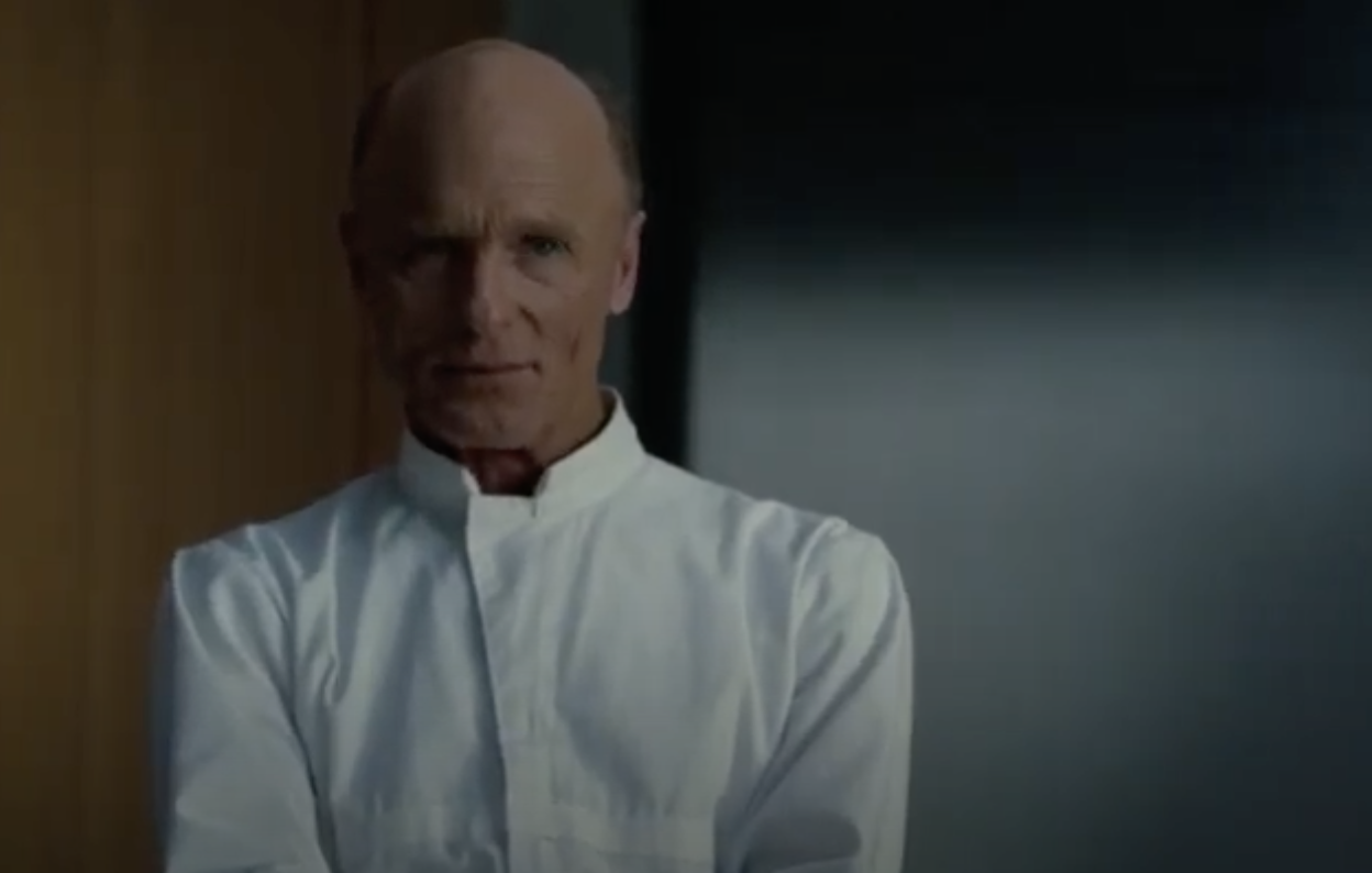 Ed Harris as the Man in Black, dressed in white
