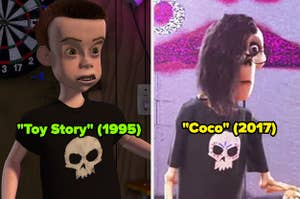 """Sid from """"Toy Story;"""" a skeleton from """"Coco"""" wearing the same skull shirt as Sid"""