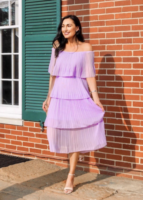 reviewer in the maxi four-tier dress
