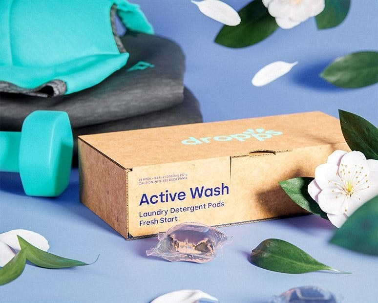 cardboard package of the active wash dropps pods in fresh start scent