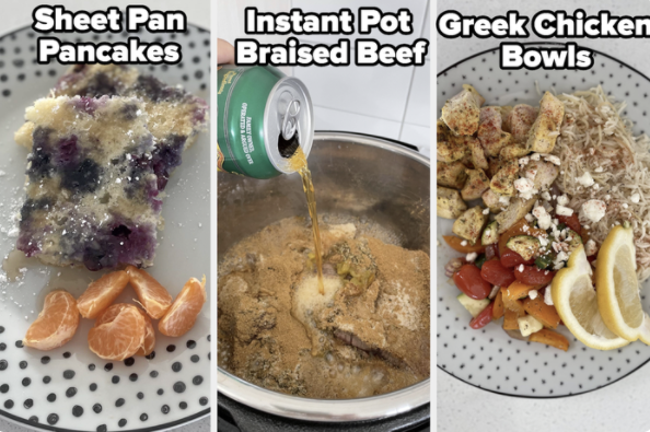 A previous week of meals: pancakes, beef, and chicken bowls