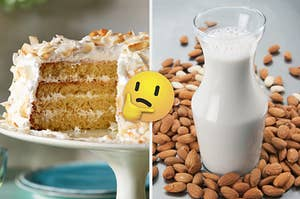A coconut cake is mounted on the left with almond milk on the right