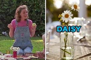 """On the left, Miss Honey from """"Matilda"""" sitting on a picnic blanket, and on the right, daisies in a glass"""