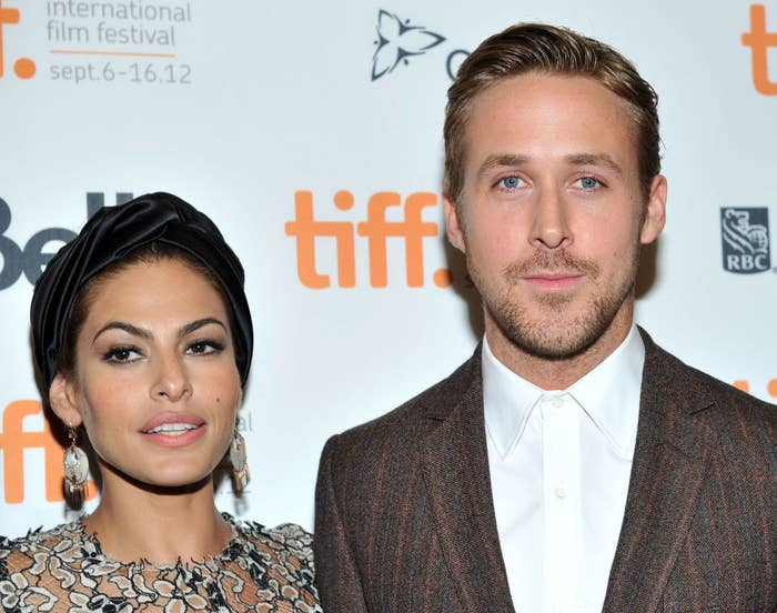 """Eva Mendes (L) and Ryan Gosling attend """"The Place Beyond the Pines"""" premiere"""