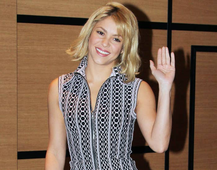 Shakira shows off a choppy blonde haircut at the event