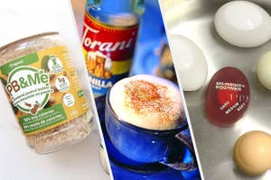 powdered peanut butter, vanilla syrup, egg timer