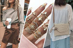 off the shoulder top, stacking rings, and woven purse