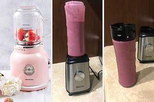 left: pink retro blenders with strawberries in it. middle: blender full of purple smoothie. right: purple smoothie sealed in travel cup